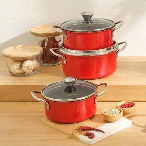6 Piece Granite Coated Red Cookware Set