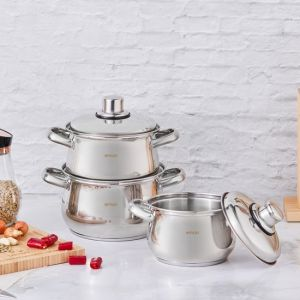 6 Piece Stainless Steel Non-Stick Cookware Set