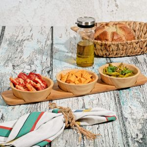 Bamboo 3 Pieces Tray Serving Bowl