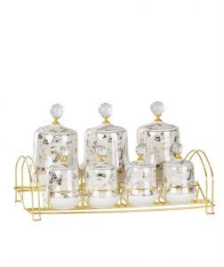 Porcelain White Gold Gilded 7 Pieces Spice Set