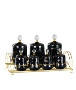 Porcelain Black Gold Gilded 7 Pieces Spice Set