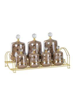 Porcelain Brown Gold Gilded 7-Pieces Spice Set