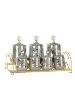 Porcelain Gray Gold Gilded 7 Pieces Spice Set