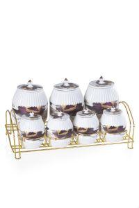 Porcelain Purple Gold Gilded 7 Pieces Spice Set