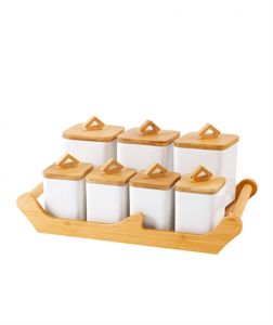 Bamboo Tray Porcelain 7 Pieces Spice Jar