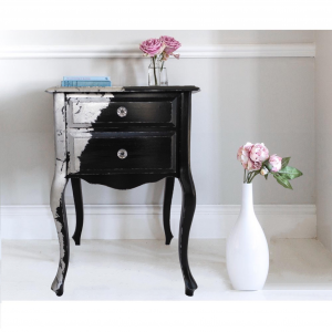 Silver Avant Garde bedside table with 2 drawers