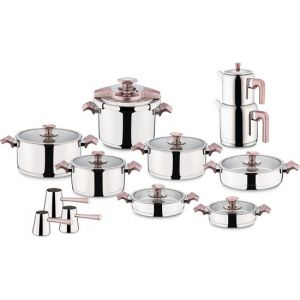 22 Piece Stainless Steel Pink Cookware Set