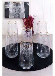 Lace Gold Gilded Long Soft Drink Cup
